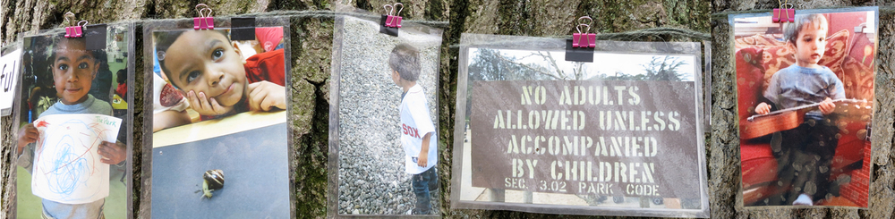 "May 10 / A visitor added new photograph (boy with guitar) to the communiTree and today it joins others to make a thoughtful statement, ""No adults allowed unless accompanied by children""."