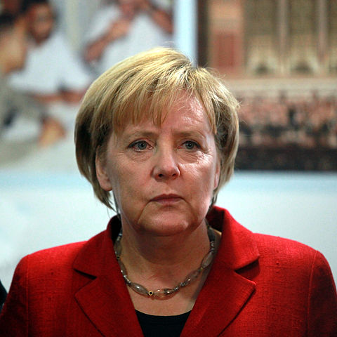 Angela Merkel stating that a diplomatic resolution will have the optimal outcome.