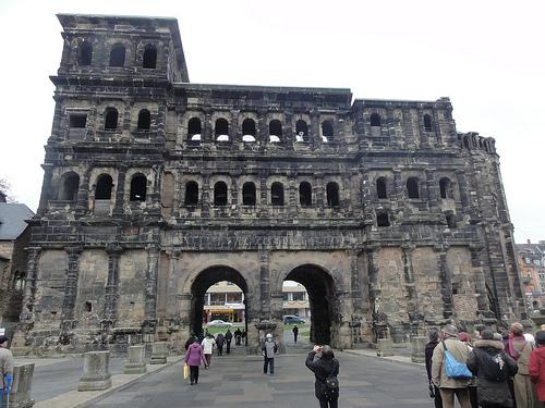 Porta Nigra, an original Roman city gate located in Trier, Germany.
