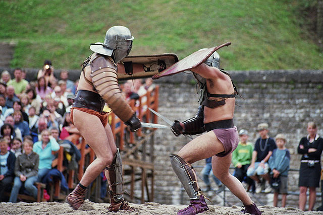 Brot and Spiele festival. Gladiators and delicious food/drinks during the summer event.