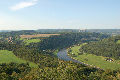 Saxon Switzerland overlooking the Elbe river.