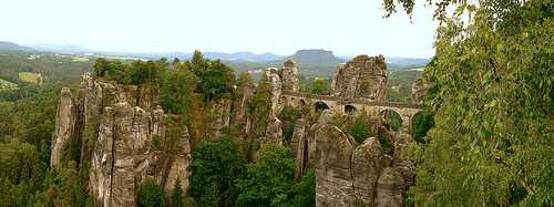 Bastei rock formation in Saxon Switzerland National Park.