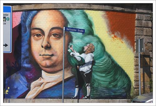 Handel street art in Halle.