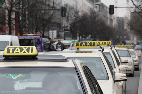 Taxi drivers protest in Berlin.