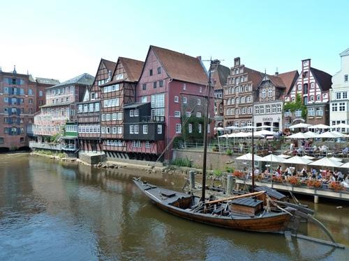Ship on the river in Lüneburg.