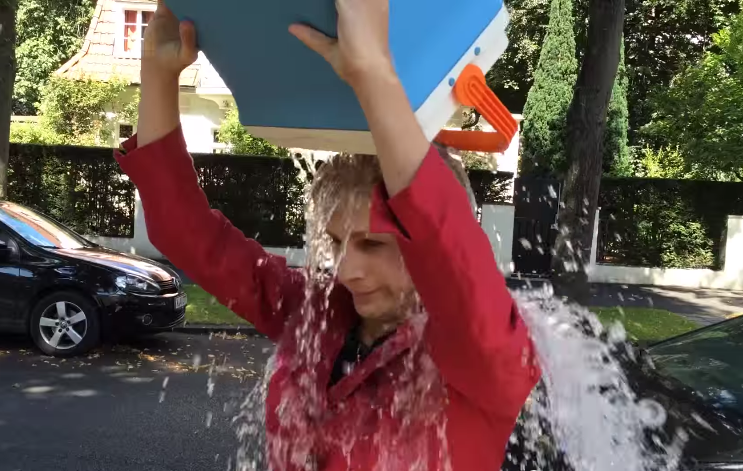 Angela Merkel impersonator takes the ice bucket challenge.