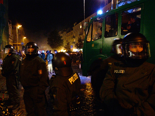 Riot police called in Hamburg.