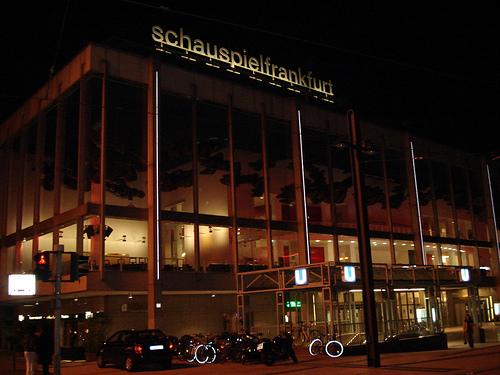Schauspiel Frankfurt at night.
