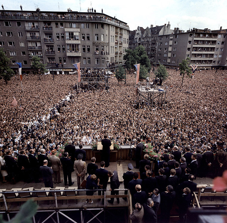 President John F. Kennedy addressing from Rathaus Schöneberg the people of West Berlin