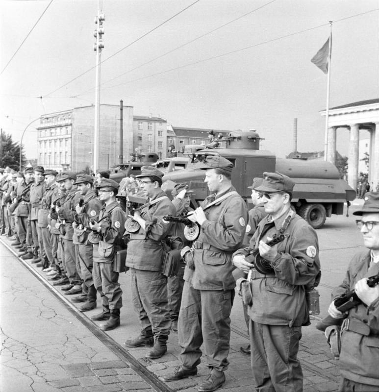 Members of Kampfgruppen on 13th August 1961 on the west side of the Brandenburg Gate directly to the demarcation line