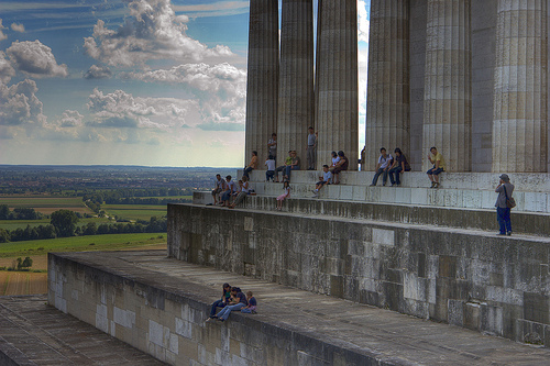 Tourists enjoying the view from Walhalla.