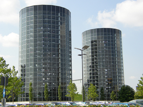 "Twin ""Auto Towers"" holding brand new Volkswagens."