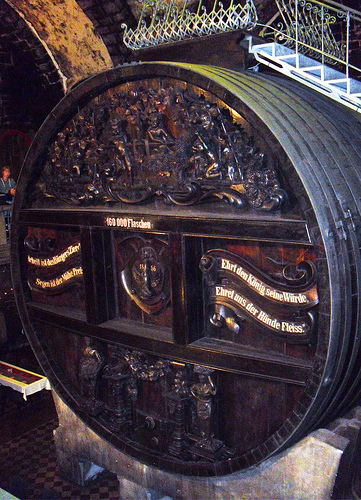 Huge old and ornate wine barrel at Rotkäppchen.