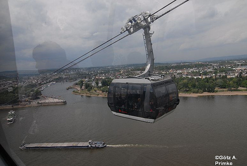 Amazing cable car ride to Ehrenbreitstein Fortress.