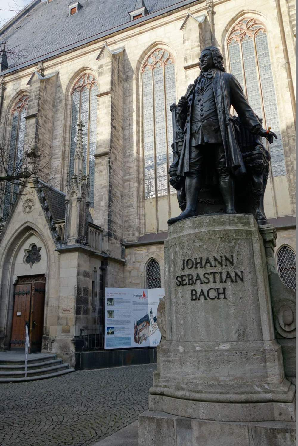 Johann Sebastian Bach statue outside the St. Thomas Church.