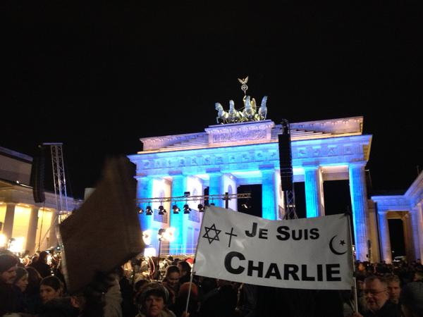 Vigil for Charlie Hebdo victims in Berlin.