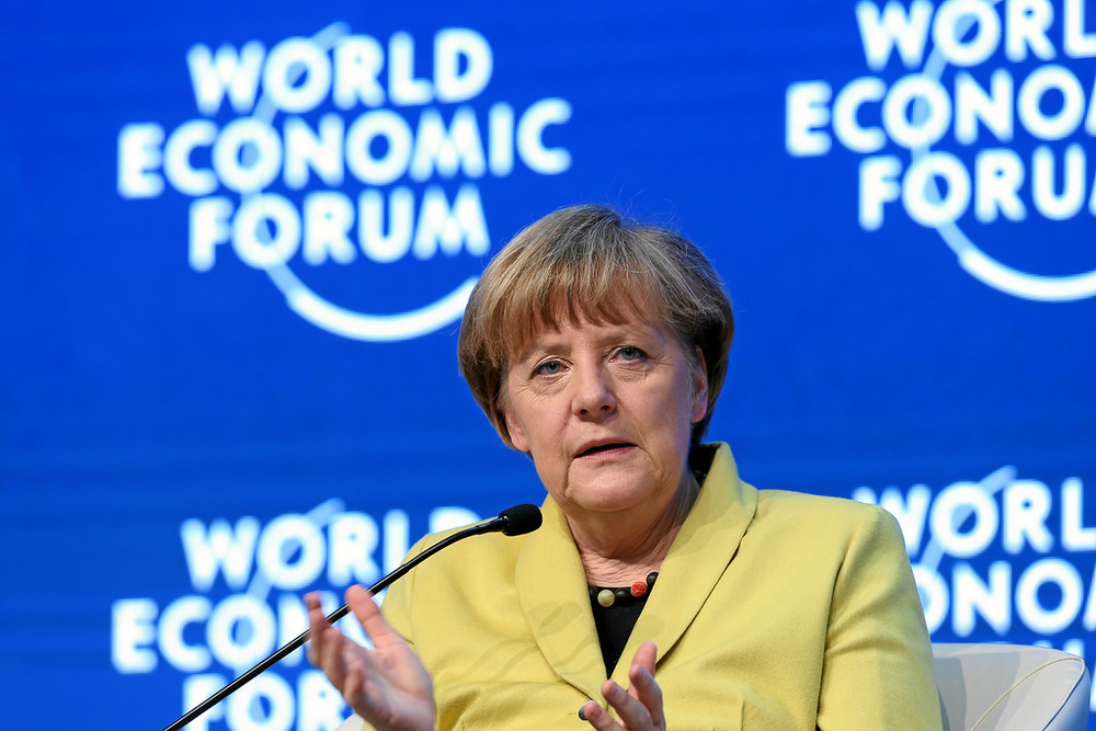 Angela Merkel speaking at the World Economic Forum in Switzerland.