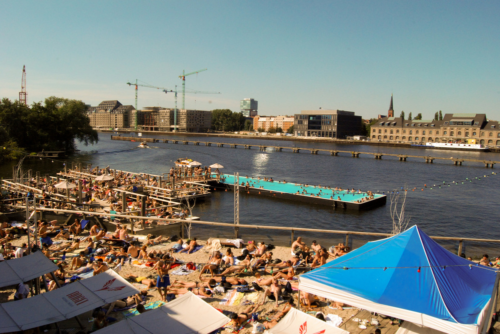 Fun in the sun at Badeschiff Berlin.