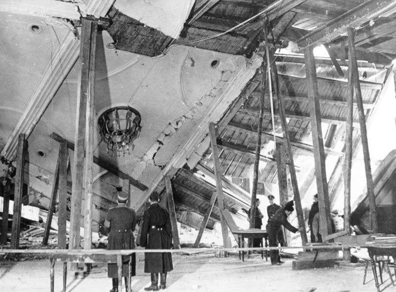 The destroyed roof of the Bürgerbräukeller, November 1939