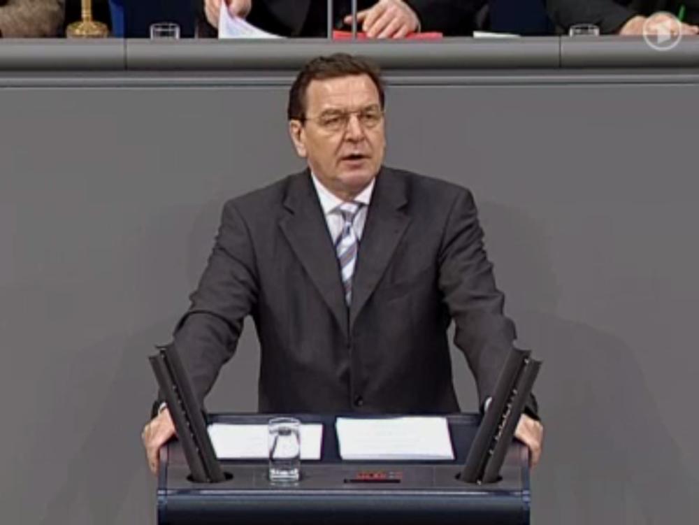Gerhard Schröder announcing Agenda 2010. ARD / Bundestag.de
