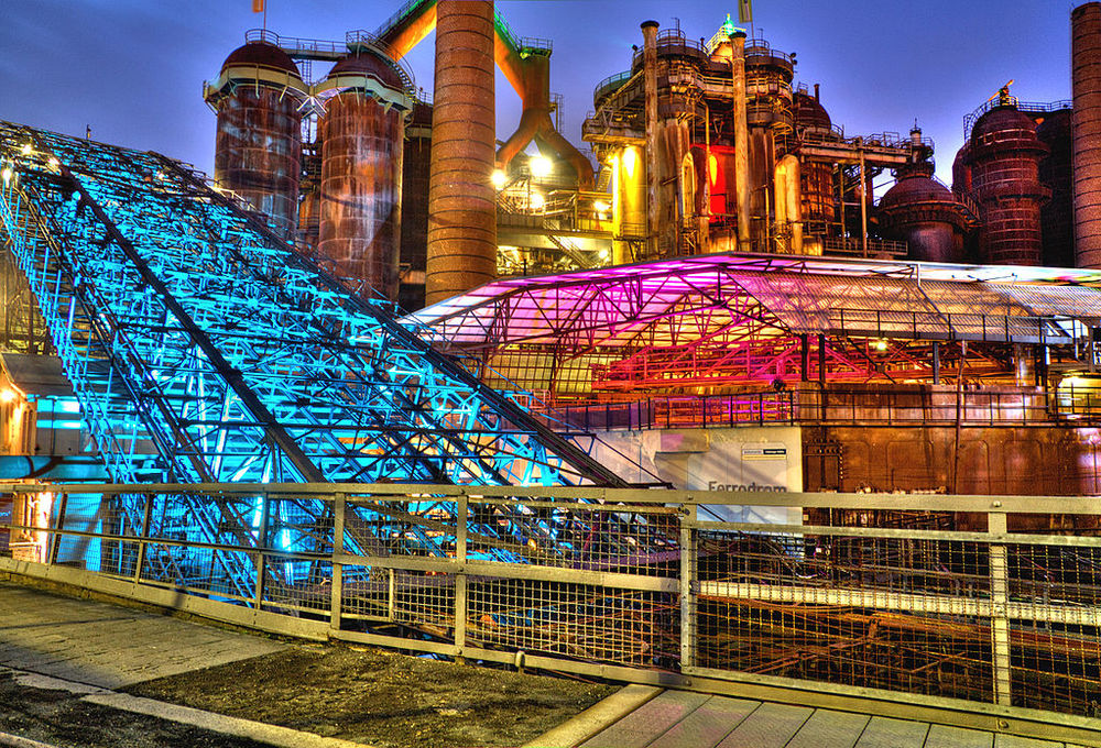 Völklingen Ironworks lit up at night.