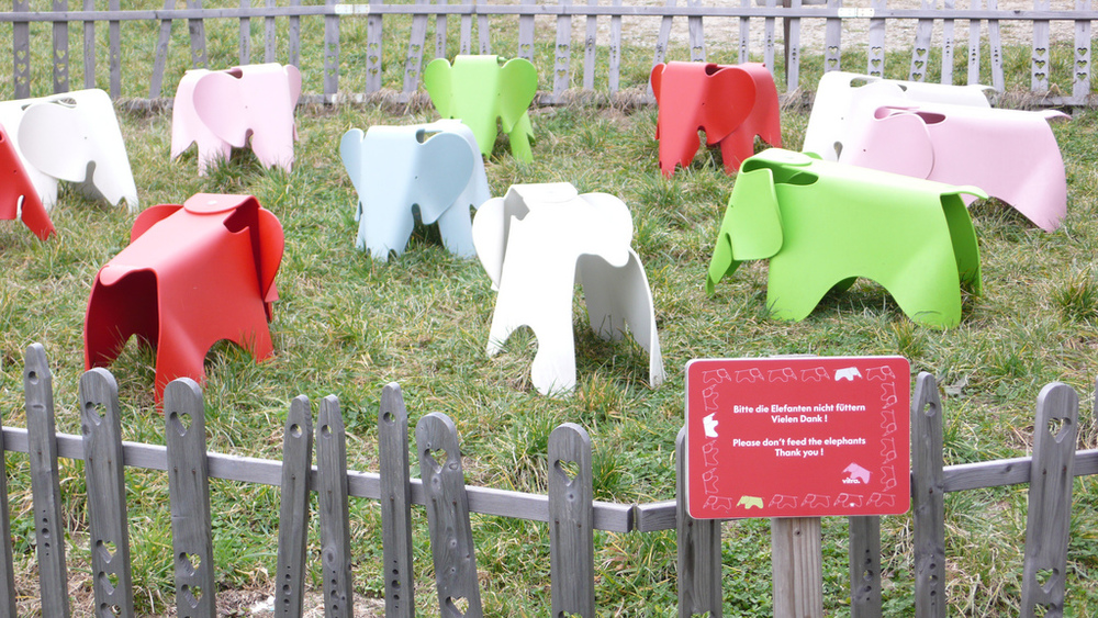 Don't fee the elephants at Vitra's campus in Weil am Rhein.