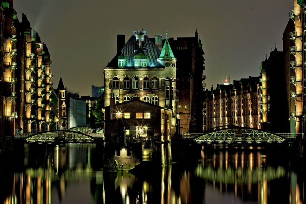 Speicherstadt lit at night is breath taking.