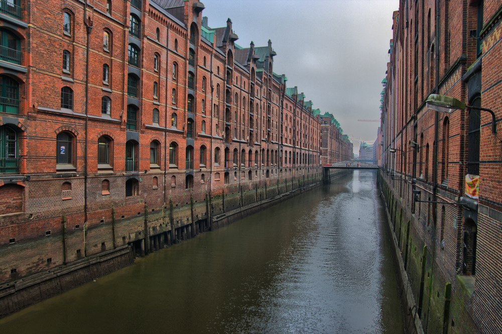 Speicherstadt (The warehouse city) canals in Hamburg.