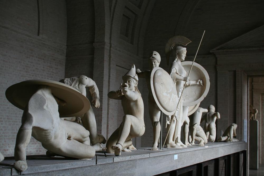 Glyptothek statues spanning a century of art.