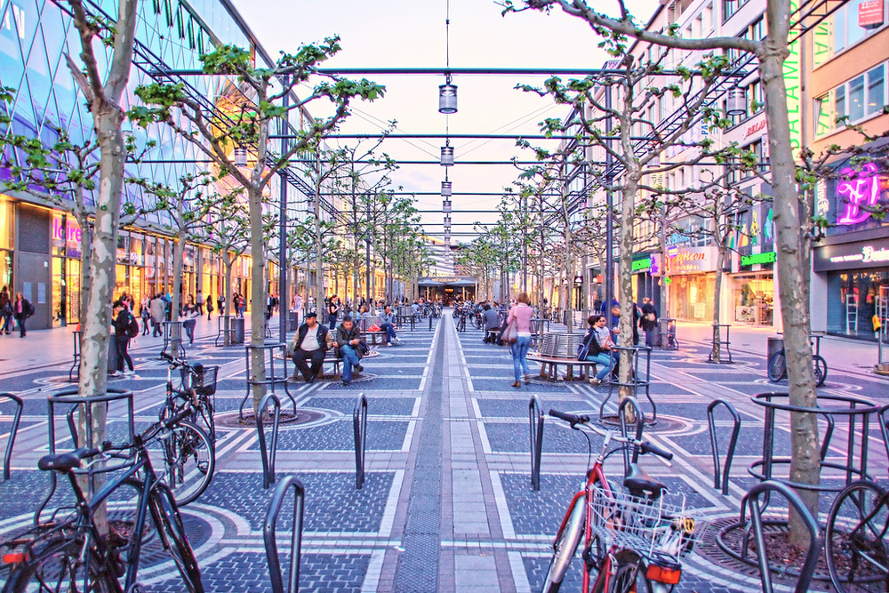 The Zeil is a shopping mecca and great place to hang out in Frankfurt.
