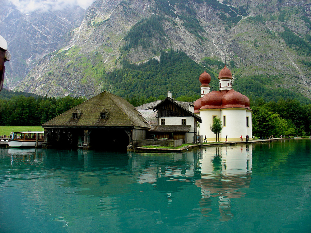 St. Bartholomä and near by boat tours on the Königssee.