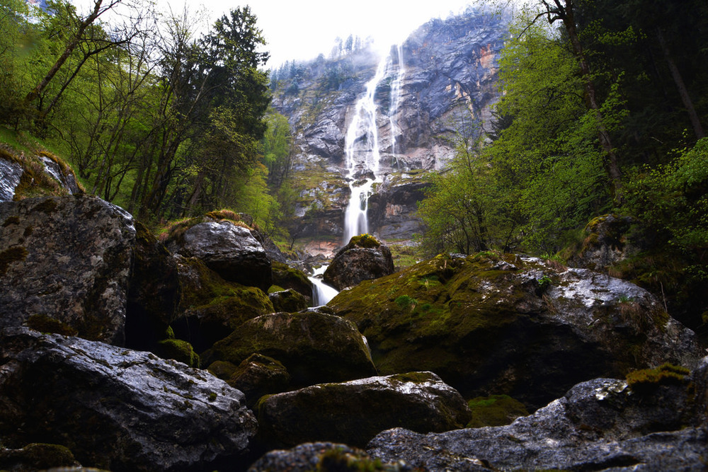 Huge waterfalls in  Berchtesgaden.