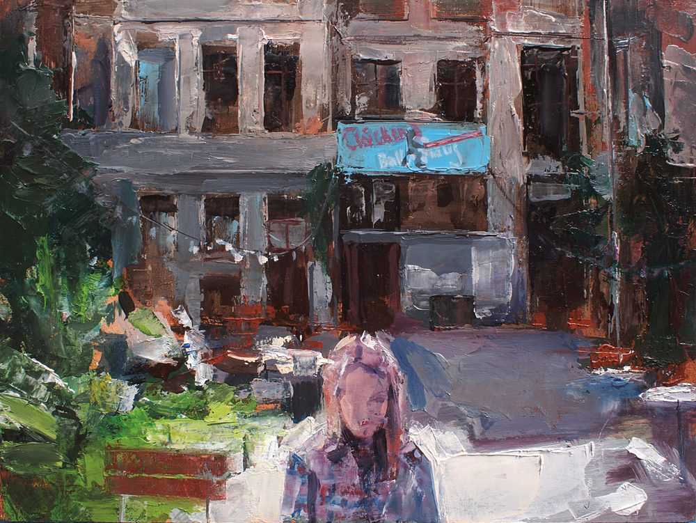 Artist Heiko Mattausch's weekly painting of the yesteryear in Leipzig.