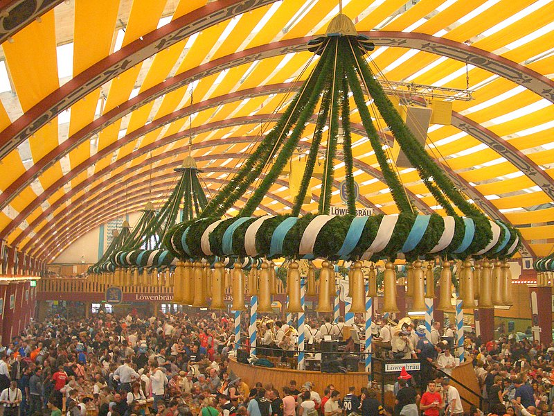 The famous beer tents of Oktoberfest.