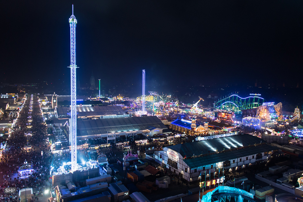 Huge fairgrounds of the Oktoberfest in Munich.