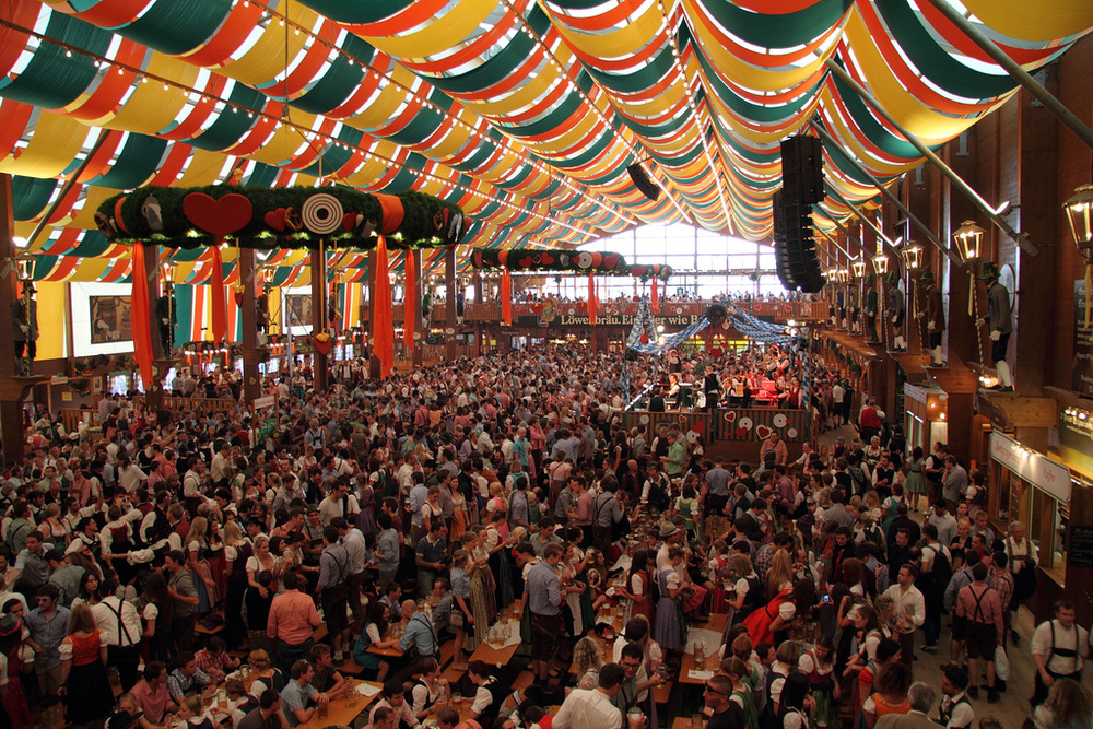 Have a beer with a million others. Good vibes at the Oktoberfest in Munich 2015.