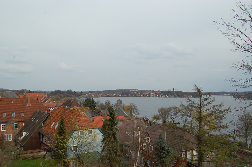 From the height of the Plön castle you can look across the Great Plön lake.