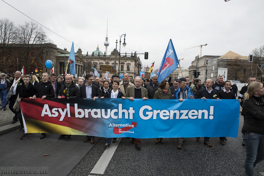 AfD protesters and counter protesters in Berlin.