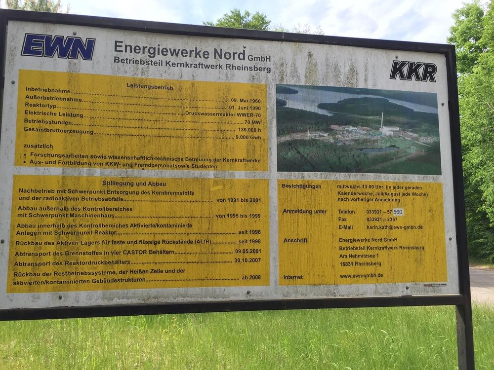 Rheinsberg nuclear power entrance sign