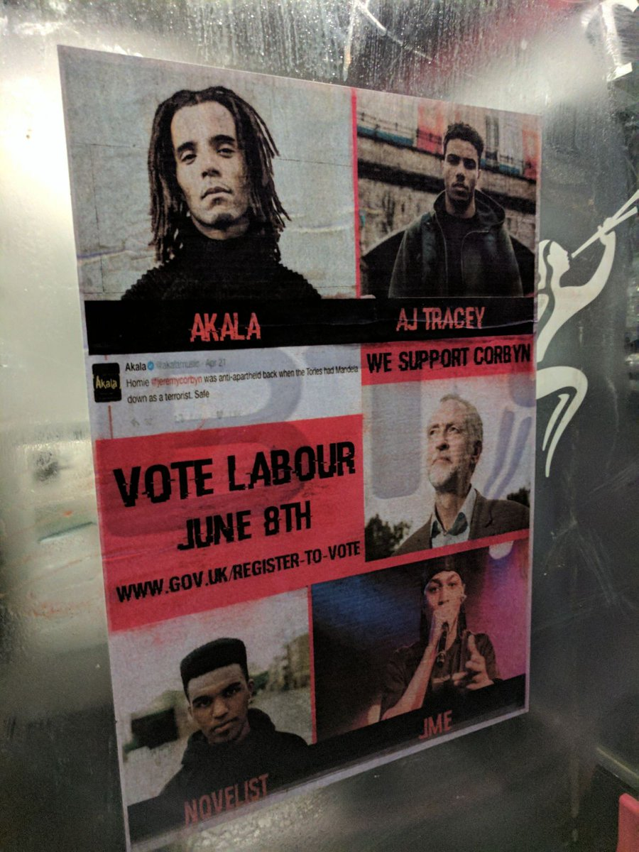 Spotted on a phone box in Brockley by @whirringcat - grime for Corbyn