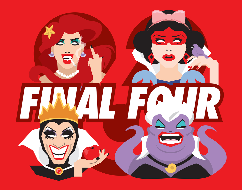 The Final Four of RuPaul's Drag Race Season Six channeling their Disney personas (from top left: Adore Delano as Ariel, Courtney Act as Snow White, Bianca Del Rio as the Evil Queen, and Darienne Lake as Ursula.