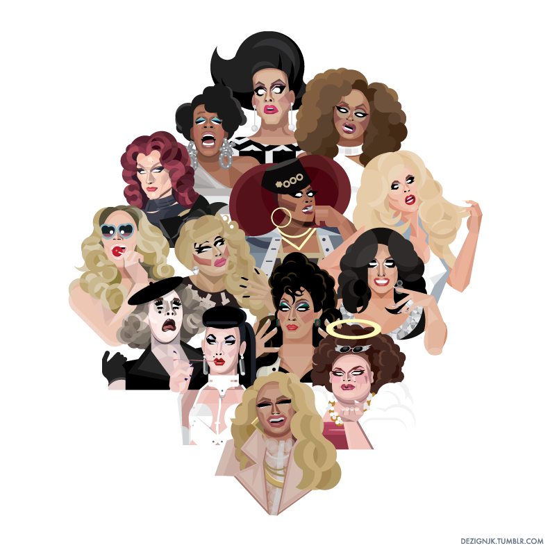 The Queens of Season 7: A group shot of all 14 queens from RuPaul's Drag Race Season 7  (top to bottom, left to right) Tempest Dujour, Jasmine Masters, Kennedy Davenport, Miss Fame, Jaidynn Diore Fierce, Katya Zamolodchikova, Kandy Ho, Trixie Mattel, Mrs. Kasha Davis, Max Malanaphy, Sasha Belle, Violet Chachki, Ginger Minj, & Pearl. (Individual portraits below).