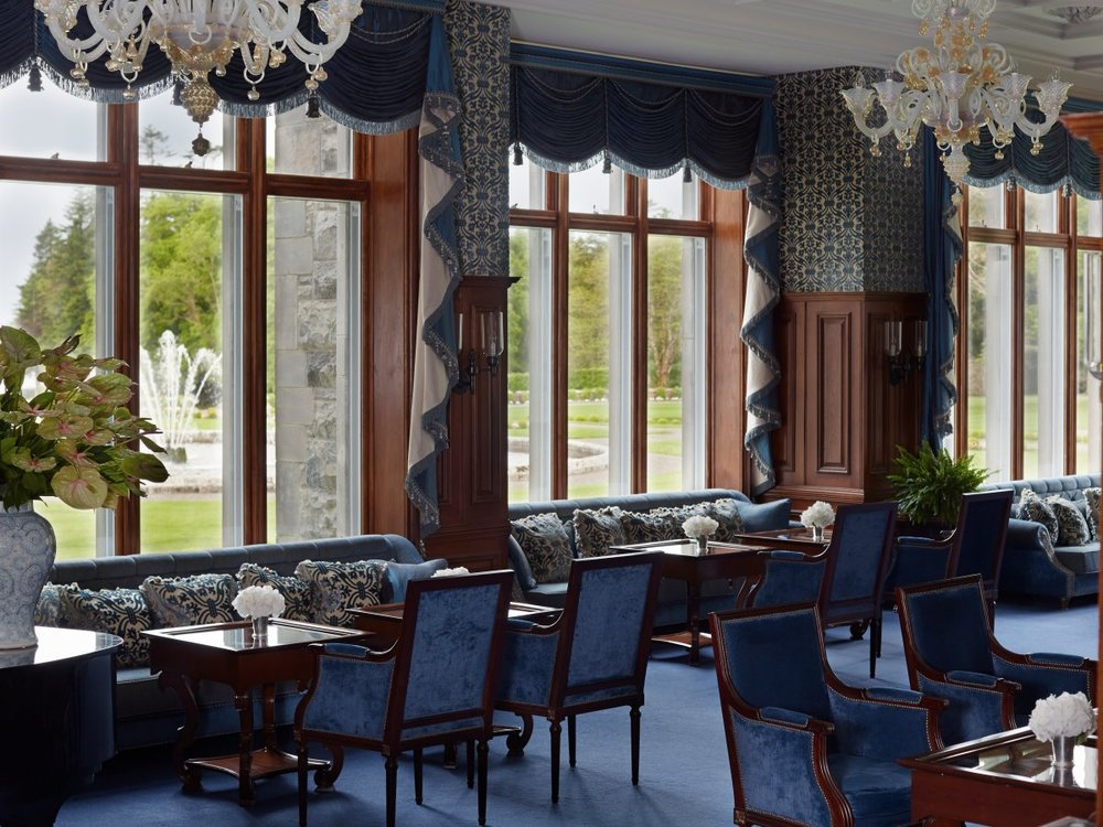 There is also the Drawing Room, where visitors can sip on morning coffee and order light lunches from the bar menu while enjoying expansive views of Lough Corrib.