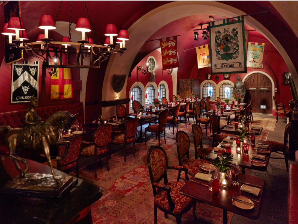 On the lower ground floor is Cullen's at the Dungeon, which serves up a bistro-style menu focusing on traditional Irish cuisine. Diners can enjoy local dishes, like an Irish Stew filled with slow-braised lamb and garden vegetables, beneath the historic curved stone ceiling of the castle.