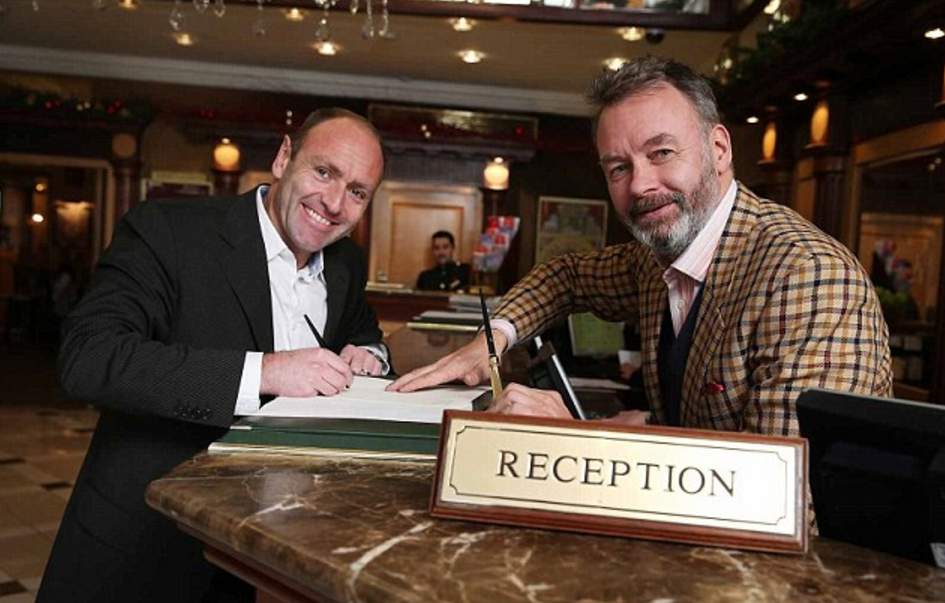 Ryanair's Kenny Jacobs and Booking.com's Nick Monaghan launch the partnership at London's Rubens Hotel    Read more: http://www.dailymail.co.uk/travel/travel_news/article-2847585/Ryanair-partners-Booking-com-hotel-accommodation-bookings.html#ixzz4D0ljMefL  Follow us: @MailOnline on Twitter | DailyMail on Facebook