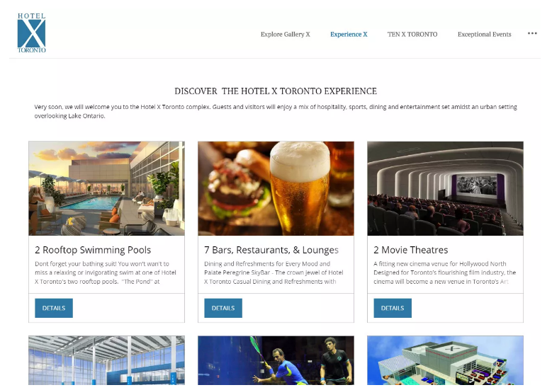 Hotel X's Experience X page shows the many amenities guests have access to.