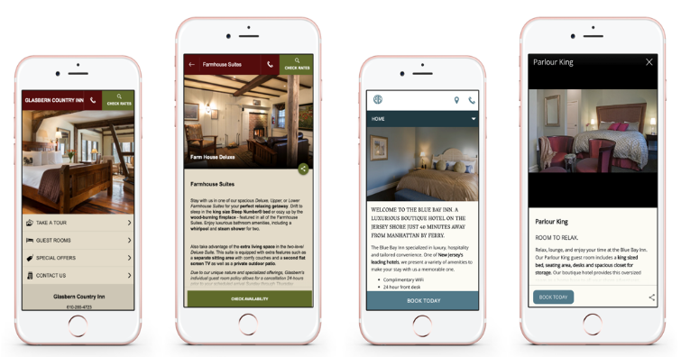 Glasbern Inn's adaptive website (left) and the Blue Bay Inn's responsive website (right).