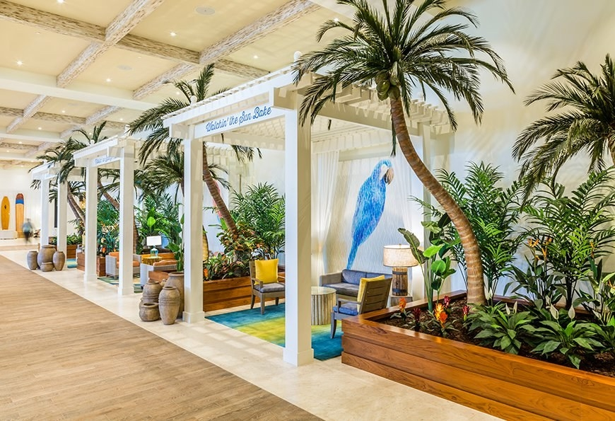 The lobby of the Margaritaville in Hollywood, Fla., uses outdoor elements to create a sense of space.
