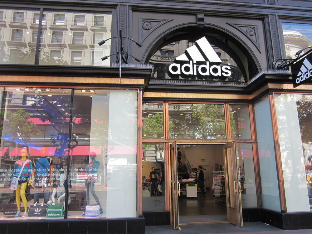 """Adidas, Westfield SF Centre 1"" by BrokenSphere - Own work. Licensed under Creative Commons Attribution-Share Alike 3.0 via Wikimedia Commons - http://commons.wikimedia.org/wiki/File:Adidas,_Westfield_SF_Centre_1.JPG#mediaviewer/File:Adidas,_Westfield_SF_Centre_1.JPG"