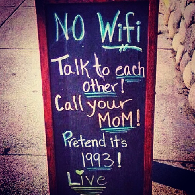 """Some old guy came in and told the waitress he """"never got the free wifi dessert"""" that we advertise. 🎂🍰🍪🍫🍩"""